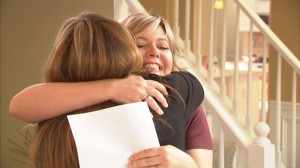 Picture shows: Lisa McMann hugs Pam at the end of her Meet & Greet.