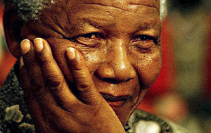 Nelson Mandela, South African president.