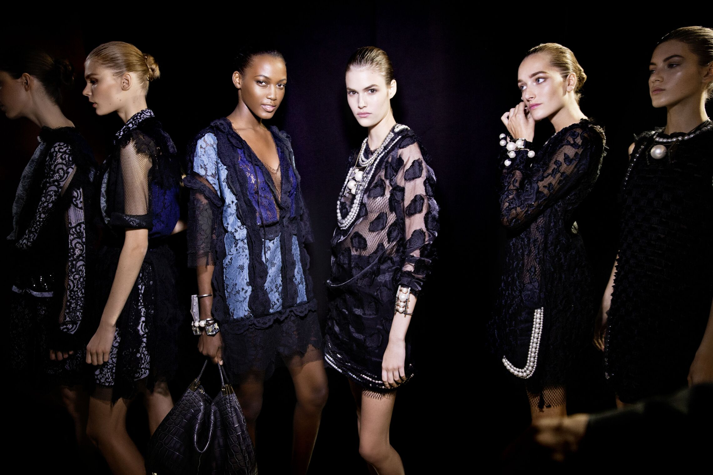 Lanvin backstage at Milan Spring Summer 2015 women's ready-to-wear collections.