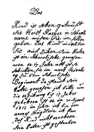 Pismo pronađeno u Kasparovom džepu 1812. godine