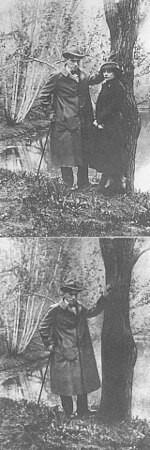 Gore: originalna fotografija; dole: posle retuširanja Ljilje nema