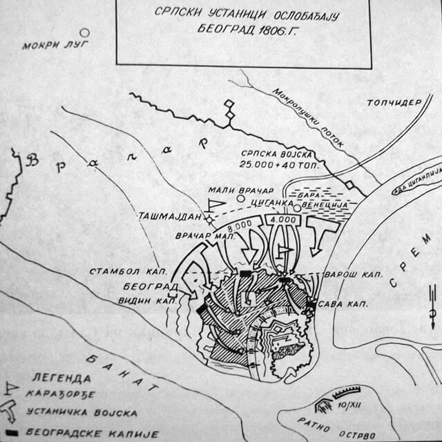Raspored ustanika prilikom oslobođenja Beograda od Turaka 1806. godine