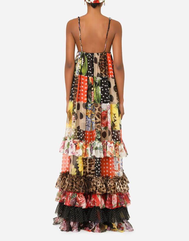 Sve je tu maksi haljina, gola leđa, pačvork desen, boje sezone